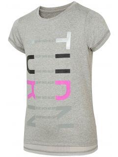 Koszulka sportowa dla dużych dzieci (dziewcząt) JTSD401 - chłodny jasny szary melanż