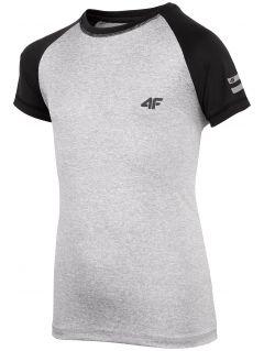 Koszulka sportowa dla dużych dzieci (chłopców) JTSM400 - chłodny jasny szary melanż