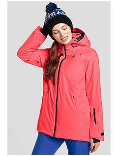 Kurtka narciarska damska KUDN206 - łososiowy neon