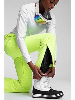Spodnie narciarskie damskie SPDN270 - jasny żółty neon