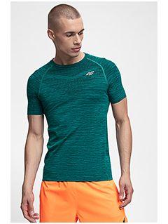 Koszulka treningowa męska TSMF258 - ciemna zieleń melanż