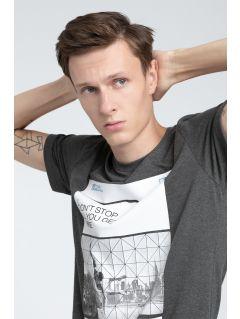 T-shirt męski TSM027 - ciemny szary melanż