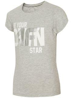 T-shirt dla dużych dzieci (dziewcząt) JTSD210A - jasny szary melanż