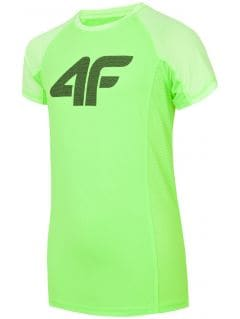 Koszulka sportowa dla dużych dzieci (chłopców) JTSM401 - soczysta zieleń neon