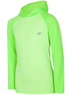 Longsleeve sportowy dla dużych dzieci (chłopców) JTSML401 - jasna zieleń neon
