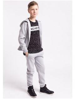 Spodnie dresowe dla dużych dzieci (122-164) JSPMD200Z - JASNY SZARY MELANŻ