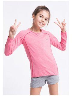 Longsleeve sportowy dla dużych dziewcząt JTSDL400z - róż melanż