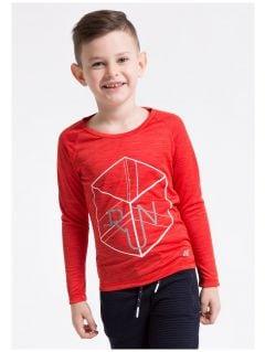 Longsleeve sportowy dla małych chłopców JTSML300z - czerwony melanż