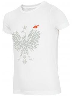 Koszulka sportowa  dla małych chłopców JTSM302 - BIAŁY