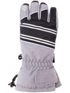 Rękawice narciarskie dla dużych chłopców JREM400Z - szary melanż
