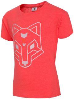 T-shirt dla małych dziewczynek JTSD102 - koral neon