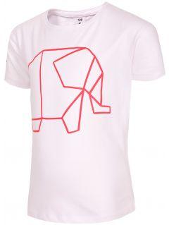 T-shirt dla małych dziewczynek JTSD102B - biały