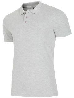 Koszulka polo męska TSM051AZ - JASNY SZARY MELANŻ