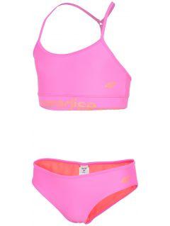Kostium kąpielowy dla dużych dziewcząt JKOS211 - koral neon