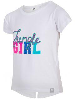 T-shirt dla małych dziewczynek JTSD111 - biały