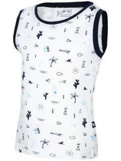 Koszulka bez rękawów dla małych chłopców JTSM125 - biały