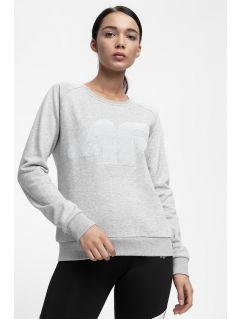 Bluza damska BLD300 - ciepły jasny szary melanż