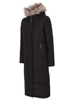 Płaszcz puchowy damski KUD008 - głęboka czerń
