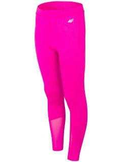 Legginsy sportowe dla dużych dzieci (dziewcząt) JLEG400 - ciemny róż