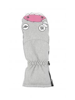 Rękawice narciarskie dla małych dzieci (dziewcząt) JRED300 - chłodny jasny szary melanż