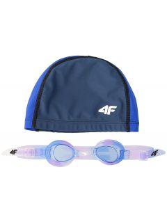Czepek + okularki pływackie dla dużych dzieci (dziewcząt)  JSETD400 - granat