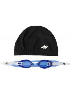 Czepek + okularki pływackie dla dużych dzieci (chłopców) JSETM400 - granat