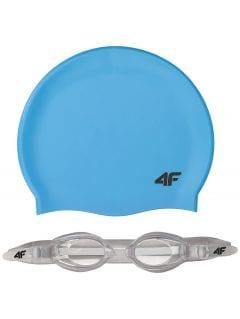 Czepek + okularki pływackie dla dużych dzieci (chłopców) JSETM401 - niebieski