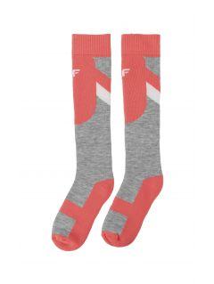 Skarpety narciarskie dla dużych dzieci (dziewcząt) JSODN400 - koral neon