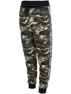 Spodnie dresowe dla dużych dzieci (chłopców) JSPMD213 - khaki melanż