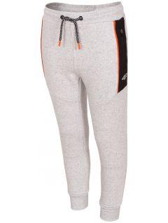 Spodnie dresowe dla dużych dzieci (chłopców) JSPMD214 - chłodny jasny szary melanż