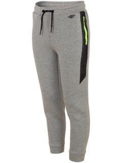 Spodnie sportowe dla dużych dzieci (chłopców) JSPMTR401 - jasny szary melanż