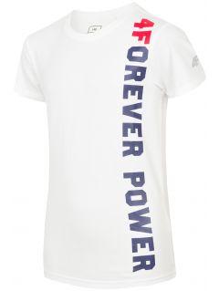T-shirt dla dużych dzieci (chłopców) JTSM211 - biały