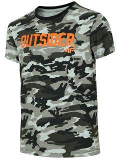 T-shirt dla dużych dzieci (chłopców) JTSM215 - szary melanż