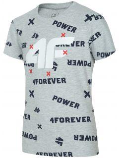 T-shirt dla dużych dzieci (chłopców) JTSM216 - chłodny jasny szary melanż