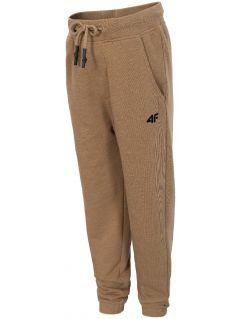 Spodnie dresowe dla dużych chłopców JSPMD204 - brąz melanż