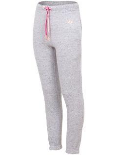 Spodnie dresowe dla dużych dzieci (dziewcząt) JSPDD201 - ciepły jasny szary melanż