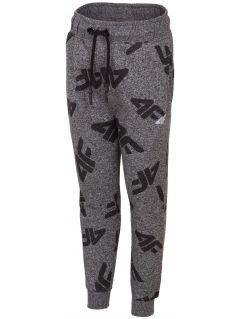 Spodnie dresowe dla małych dzieci (chłopców) JSPMD103 - ciemny szary melanż