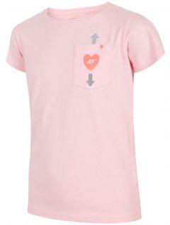 T-shirt dla dużych dzieci (dziewcząt) JTSD207 - jasny róż melanż