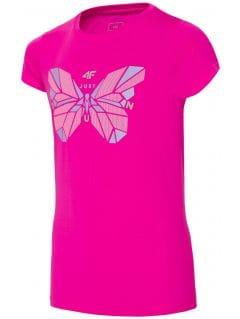 Koszulka sportowa dla dużych dzieci (dziewcząt) JTSD401A - ciemny róż