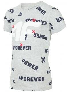 T-shirt dla małych dzieci (chłopców) JTSM102 - chłodny jasny szary melanż