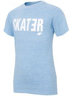 T-shirt dla dużych dzieci (chłopców) JTSM200 - niebieski melanż