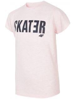 T-shirt dla dużych dzieci (chłopców) JTSM200 - jasny róż melanż
