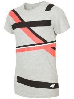 T-shirt dla dużych dzieci (chłopców) JTSM207 - szary melanż