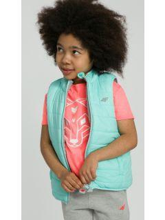Bezrękawnik puchowy dla małych dziewczynek JKUDB101 - mięta
