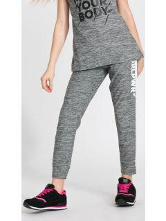 Spodnie sportowe dla dużych dziewcząt JSPDTR400 - CIEPŁY JASNY SZARY