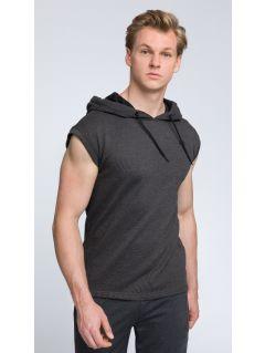 Bluza z krótkim rękawem męska TSM028 - ciemny szary melanż
