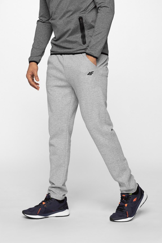 Spodnie dresowe męskie SPMD302 - chłodny jasny szary melanż