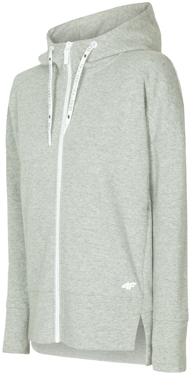 Bluza damska BLD400 - ciepły jasny szary melanż