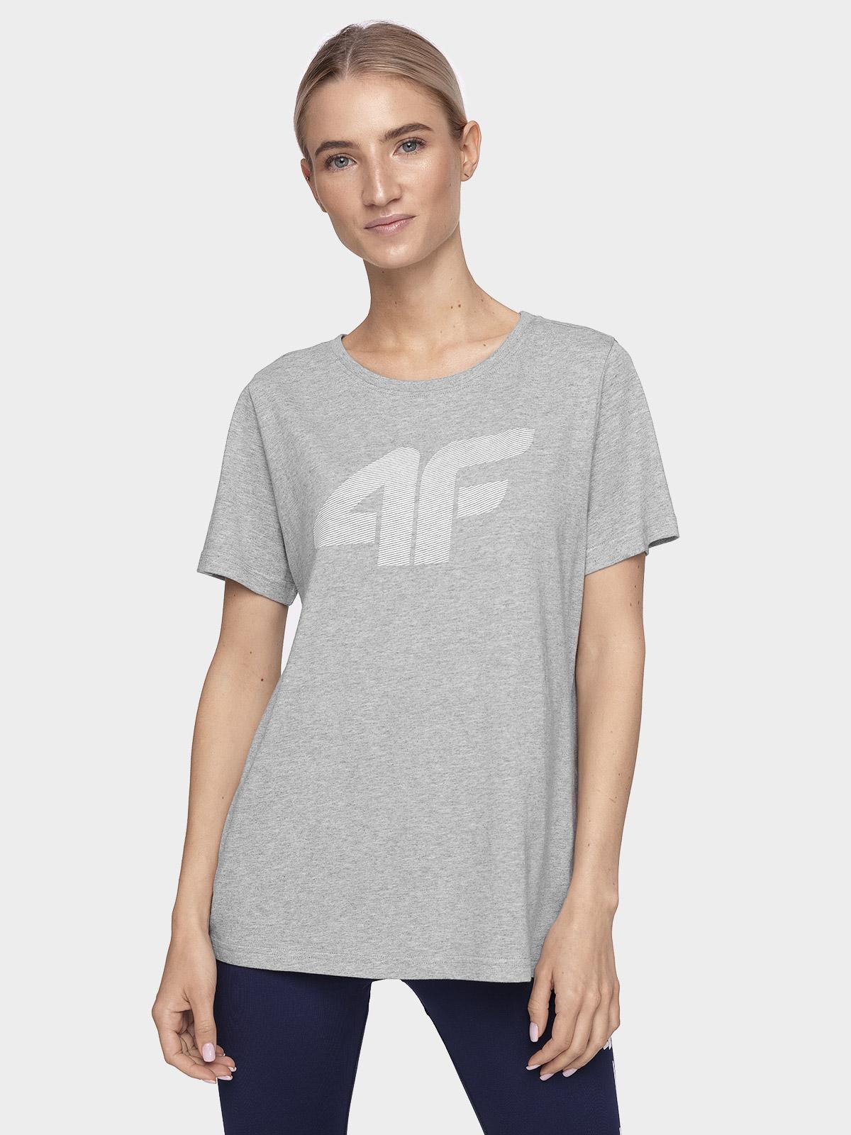 T-shirt damski TSD304 - ciepły jasny szary melanż