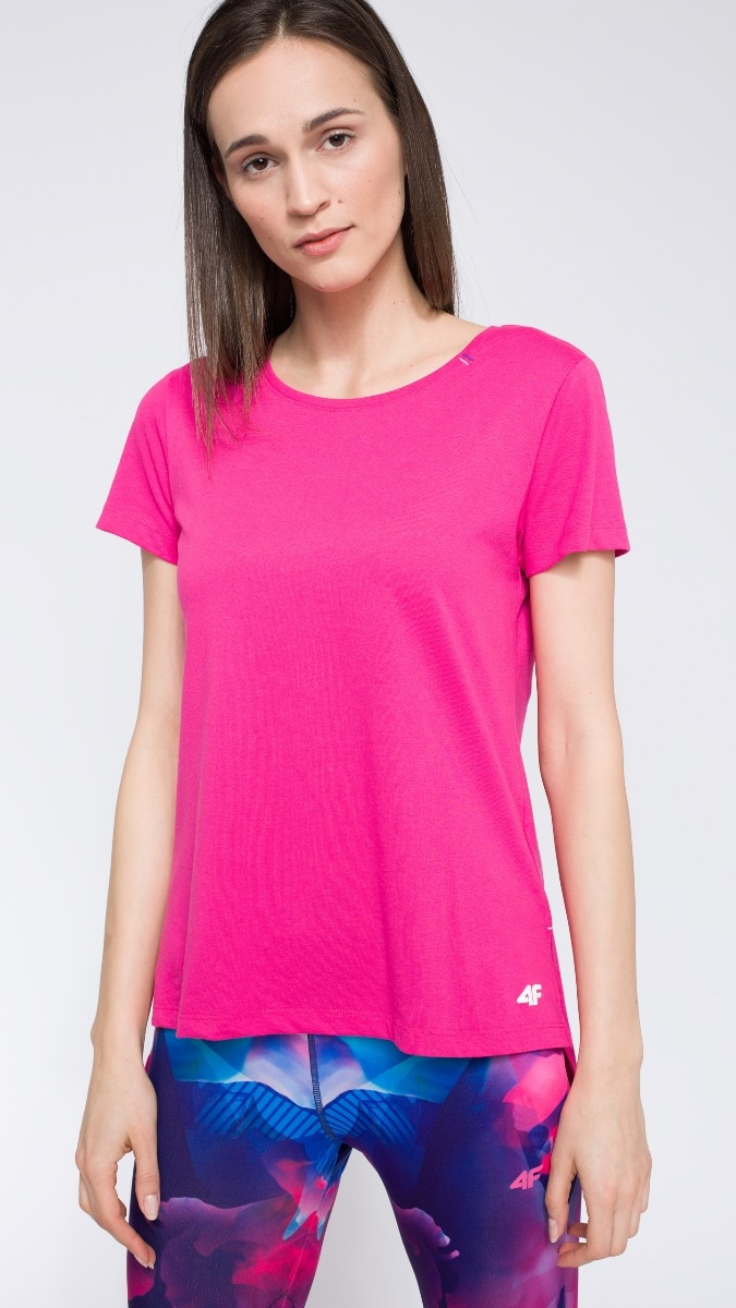 T-shirt damski TSD211 - różowy neon